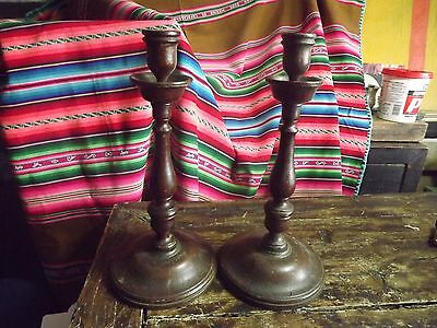 Antique Oak Pair Turned Wood Candle Sticks 10 In Tall