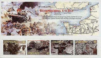 Grenada 2005 MNH WWII VE Day 60th End World War II 4v M/S D-Day Landing Stamps