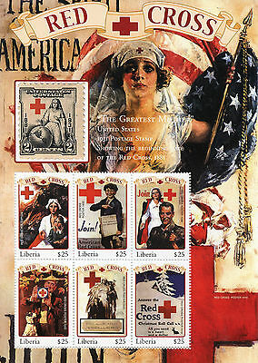Liberia 2000 MNH Red Cross Posters 6v M/S Medical Health Stamps