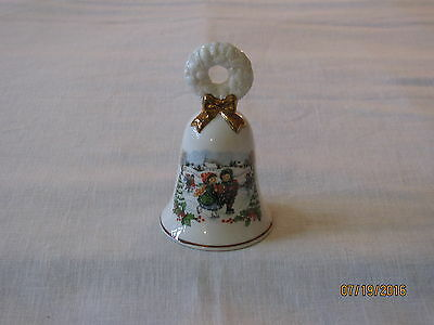 1986 Avon Porcelain Christmas Bell, Ice Skaters
