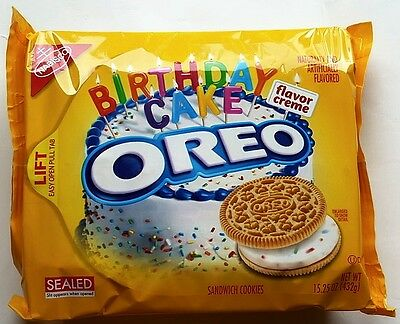 NEW Nabisco Oreo Birthday Cake Flavor Creme Cookies FREE WORLDWIDE SHIPPING