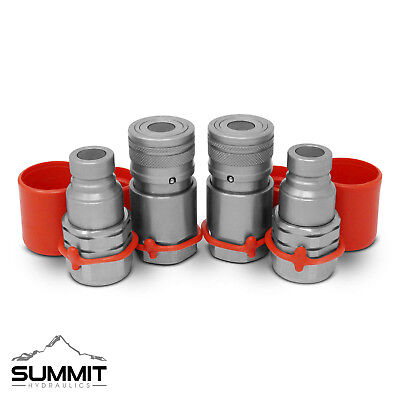 """3/4"""" SAE -12 Skid Steer Flat Face Hydraulic Quick Connect Coupler Coupling 2 Set"""