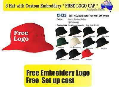 3 Custom Embroidered Bucket Hats * FREE LOGO Embroidery *TEAM CAP SPORTS CAPS*03