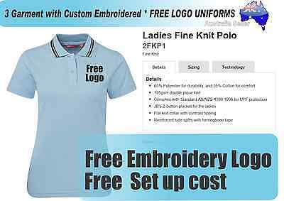 3 Custom Ladies  Polo shirts with Your Embroidered * FREE YOUR  LOGO * 310