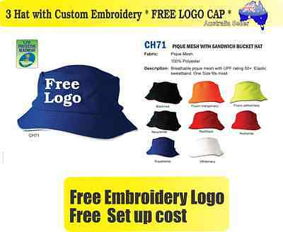 3 Custom Embroidered Bucket Hats * FREE LOGO Embroidery *TEAM CAP SPORTS CAPS*05