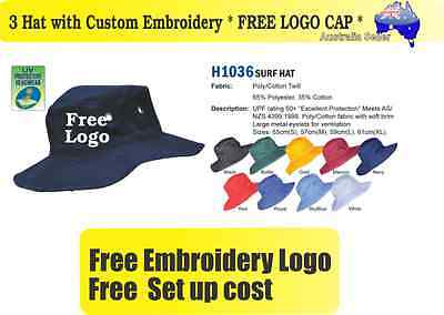 3 Custom Embroidered Bucket Hats * FREE LOGO Embroidery *TEAM CAP SPORTS CAPS*04