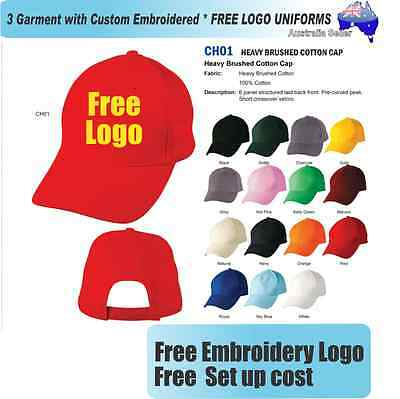 3 Custom Embroidered Caps Hats * FREE LOGO Embroidery * CAP *331