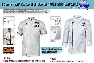 3 Custom DNC UNISEX CHEF Uniforms with  Embroidered * FREE  YOURLOGO* 326
