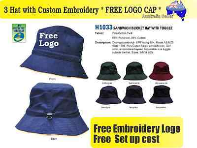 3 Custom Embroidered Bucket Hats * FREE LOGO Embroidery * TEAM CAP SPORTS* 329