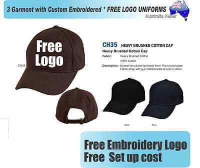 3 Custom Embroidered Caps Hats * FREE LOGO Embroidery * CAP *330
