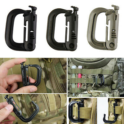 D-Ring Strong Carabiner Snap Tactical Outdoor EDC Backpack Gear Belt Clip Hook