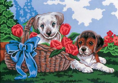 Grafitec Printed Tapestry/Needlepoint Canvas – Puppies in a Basket