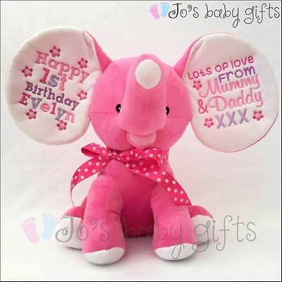 Personalised Hot Pink Dumble Cubbie,New Baby Teddy Bear Gift,Embroidered Cubbies