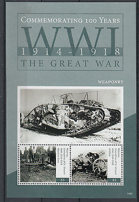 Mayreau Gren St Vincent 2014 MNH WWI Weaponry 2v S/S First World War Stamps