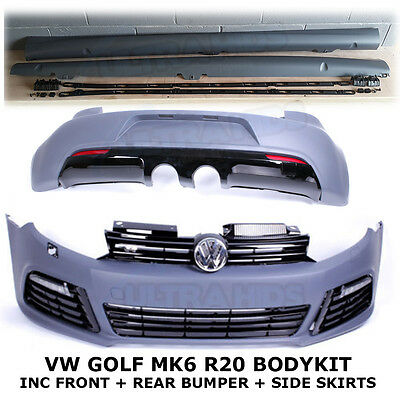 VW GOLF MK6 R20 BODYKIT FRONT REAR BUMPER SIDE SKIRTS GRILLES DRL abs primered