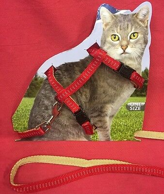 Kittens Cats Red Harness & Lead Set Fully Adjustable Easy Quick Release Buckles