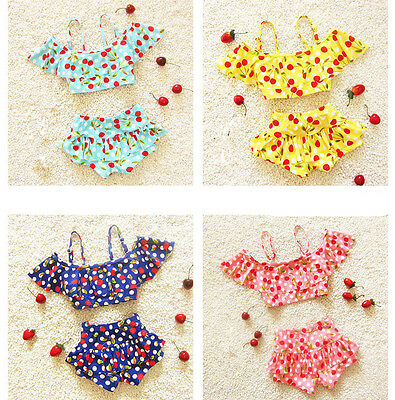 2PC Kids Baby Girls Flat Angle Swimsuit Princess Swim Bikini Swimwear Sets