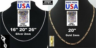 925 Sterling Silver-18K Gold-Plated 2mm Italy Figaro Chain Necklace FreeGift Bag