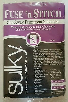 "Sulky Fuse 'n Stitch Cut-Away Permanent Stabilizer, 24"" x 36"", White"