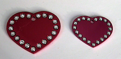 Bling Bling crystal heart, personilized dogs/cats ID tags free custom engraving