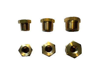 "Brass fittings for transducer, temp, oil senders, 1/8"" to 1/4"", 3/8"", 1/2"" NPT"