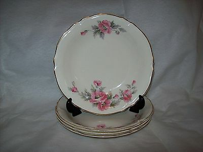 Vintage Edwin M Knowles 4 Cereal Soup Bowls with Pink Flowers Pattern 1657-E1