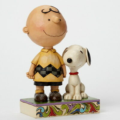"THE PEANUTS Scultura ""CHARLIE BROWN & SNOOPY"" Figura Jim Shore 4042387 - NUOVO"