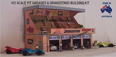 HO Scale Racing Pit Row Garage Grandstand Model Railway Building Kit HOPGWS