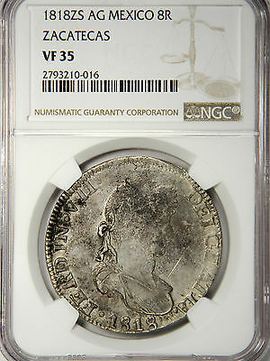 1818 Zs Ag Mexico 8 Reales - Zacatecas **war Of Independence** Ngc Vf35!