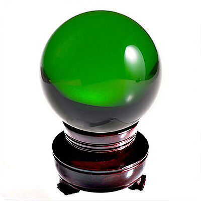 LONGWIN Fengshui Crystal Ball Glass Ball with Wood Stand Gift Box Green 200mm