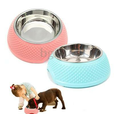 Non Slip Stainless Steel Cat Dog Pet Water Drink Food Dish Bowl Feeder Feeding