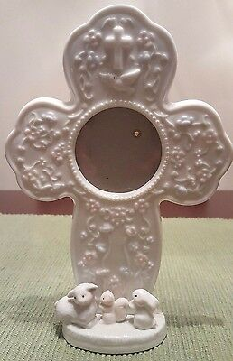 Baby Baptism/Christening Keepsake Ceramic Cross With Dove Picture Frame *Unisex