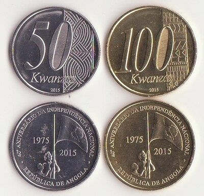 ANGOLA, 50, 100 Kwanzas 2015 UNC Set of 2 Coins, Commemorative