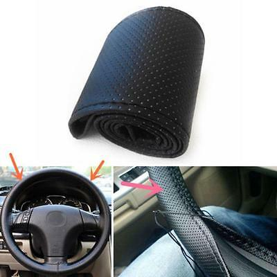 Car Truck PU Leather Steering Wheel Cover With Needles and Thread DIY Black CB