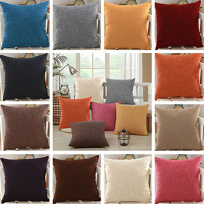 """18"""" Modern Simple Solid Pillow Case Linen Office Home Sofa Decor Cushion Cover"""