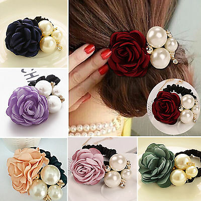 Women Rose Flower Pearl Ponytail Holder Hair-Band Hair Accessories Rope Elastic
