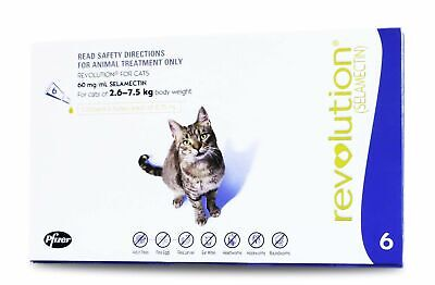Revolution for Fleas & Worms  for Cats 2.6 - 7.5kg - 6 pack + BONUS 1 MONTH