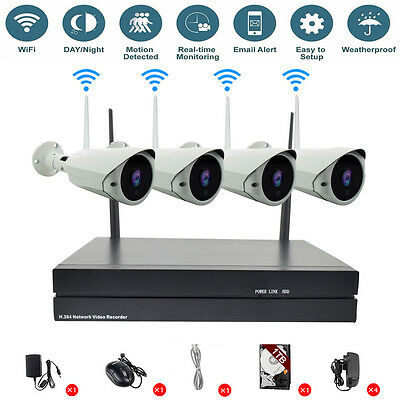 1TB HDD 4CH Wireless Wifi NVR Kit Security HD 720P 1.0MP IP Camera Outdoor CCTV