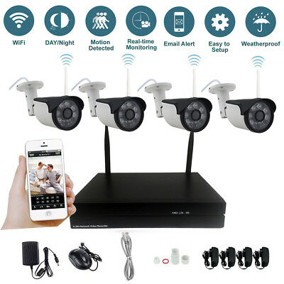 4CH Wireless Wifi NVR Kit Security System HD 960P 1.3MP IP Camera Outdoor CCTV