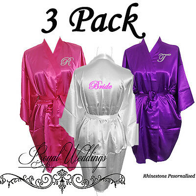 3 Pack Personalised Satin Robes Bridal Wedding Bride Bridesmaid Robe Gowns