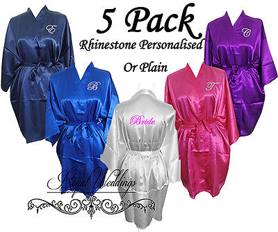5 Pack Personalised Satin Robes Bridal Wedding Bride Bridesmaid Dressing Gowns
