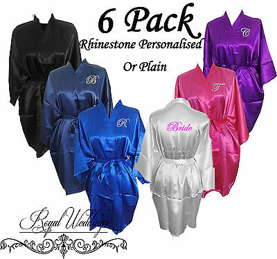 6 Pack Bridesmaid Robes Personalised Bride Gown Satin Robes Wedding Gifts