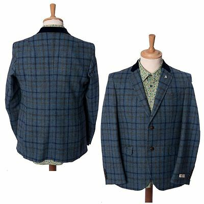 Mens Checked Blue Tailored Wool Jacket Heritage Blazer Coat By Maddox Street