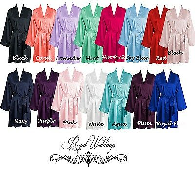 Wedding Robes Bridal Wedding Bridesmaid Satin Robes Dressing Gowns 6 PACK SET