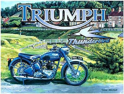 Triumph Thunderbird Steel Wall Motorbike Plaque Metal Retro Sign 15X20 Tin Blue