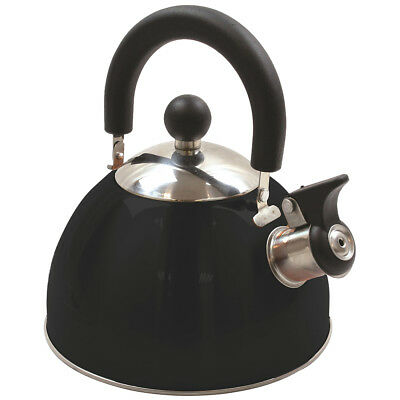 Highlander 2 Litres Deluxe Stainless Steel Whistling Kettle Hiking Camping Black