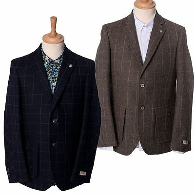 "Mens Checked Tailored Smart Heritage Blazer Suit Jacket Maddox St Sizes 38""-46"""
