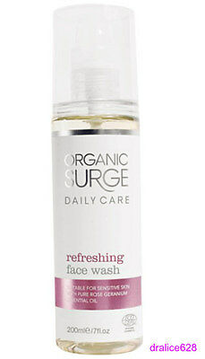 Organic Surge Refreshing Care Face Wash Cleansing Natural With Rose Geranium Oil