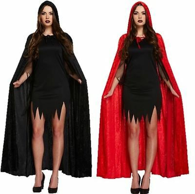 Deluxe Adult Unisex Velvet Cape Cloak Black Red Hooded Halloween Fancy Dress