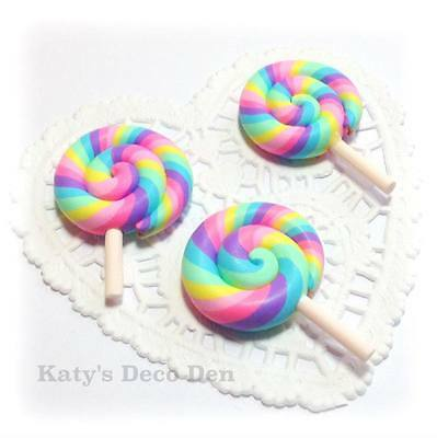Swirly Lollipop Miniature Fake Swirl Lolly Polymer Clay Cabochons Pastel Rainbow